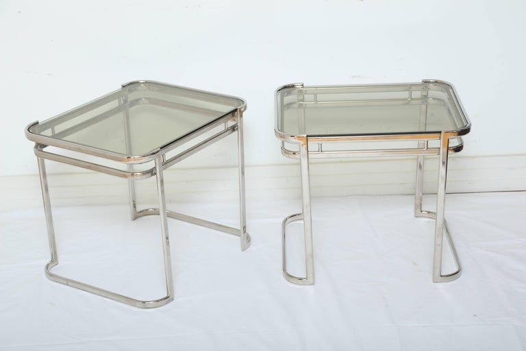 Smoked Glass Pair of Italian Mid-Century Modern Chrome Side Tables For Sale