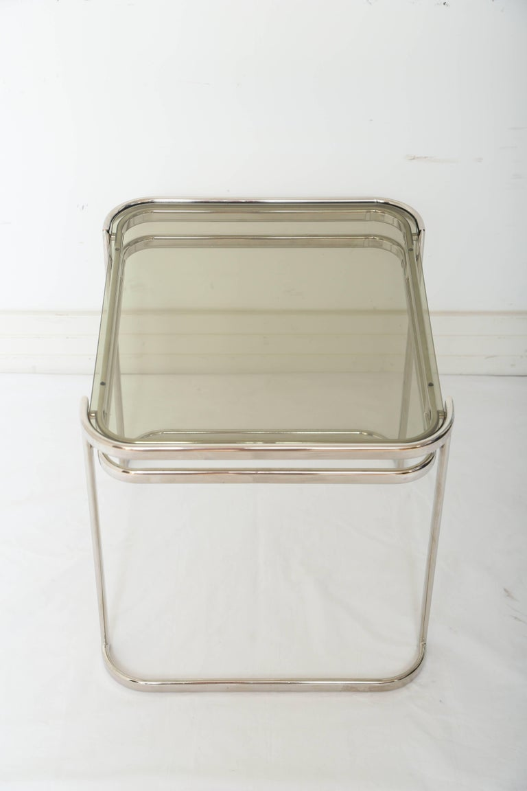 Pair of Italian Mid-Century Modern Chrome Side Tables For Sale 2