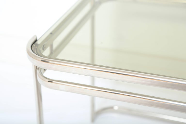Pair of Italian Mid-Century Modern Chrome Side Tables For Sale 3
