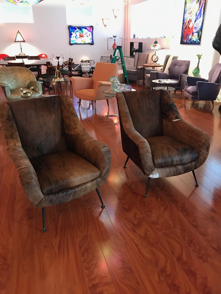 Remarkable Pair Of Italian Mid Century Modern Club Chairs Covered In Cowhide Evergreenethics Interior Chair Design Evergreenethicsorg