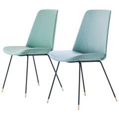 Pair of Italian Mid-Century Modern Easy Chairs Iron Brass and Green Skai