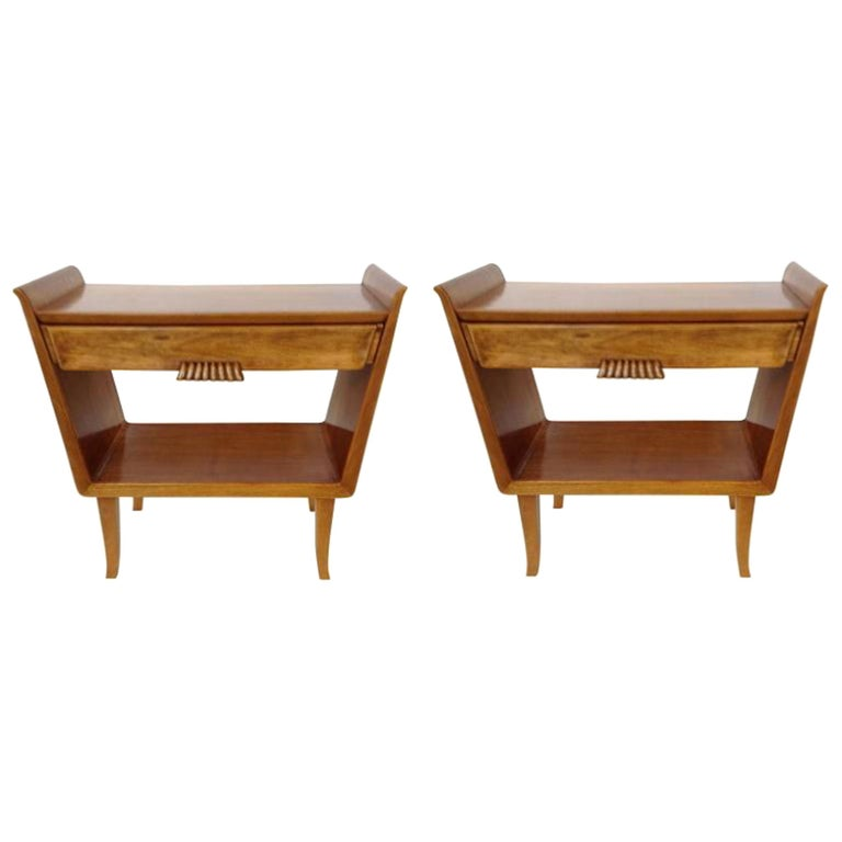 Pair of Italian clear fruitwood Vintage nightstands, with 1 drawer each.