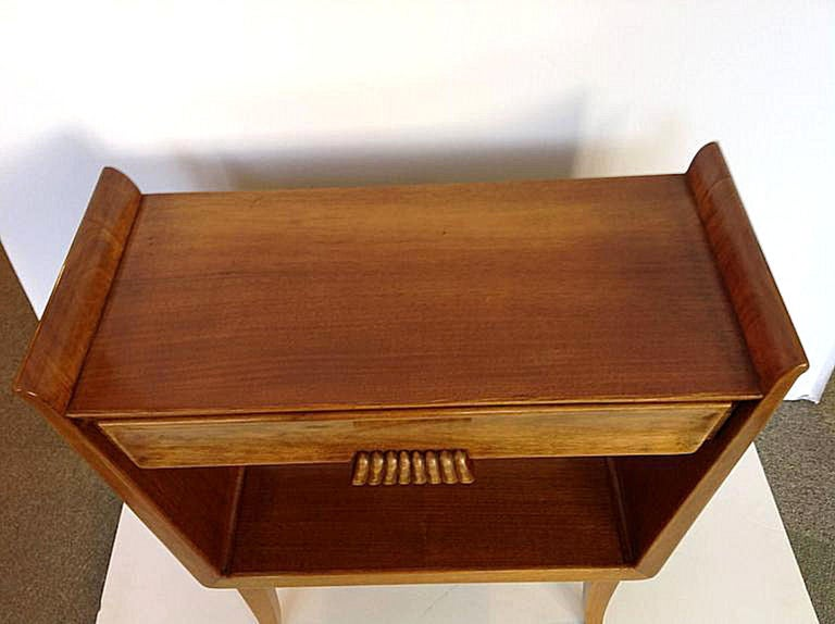 Pair of Italian Mid-Century Modern Fruit Wood Bedside Tables or Cabinets, 1960s In Good Condition For Sale In Dallas, TX