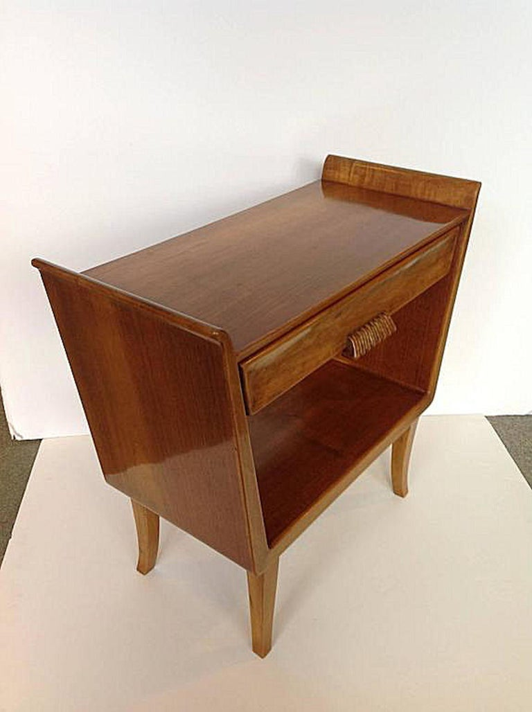 Mid-20th Century Pair of Italian Mid-Century Modern Fruit Wood Bedside Tables or Cabinets, 1960s For Sale