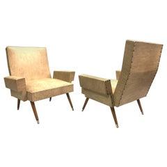 Pair of Italian Futurist / Mid-Century Modern Lounge Chairs, Giacomo Balla