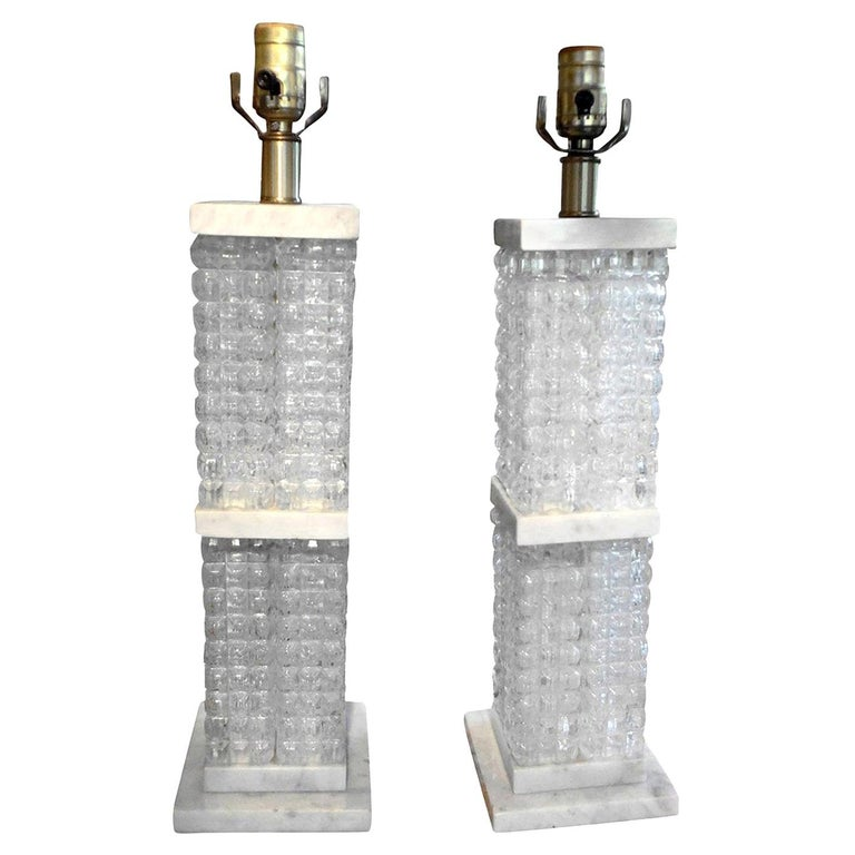 Pair of Italian Mid-Century Modern Glass and Marble Lamps For Sale
