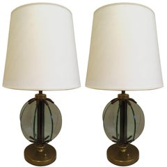 Pair of Italian Mid-Century Modern Glass 'Astrolabe' Table Lamps by Fontana Arte