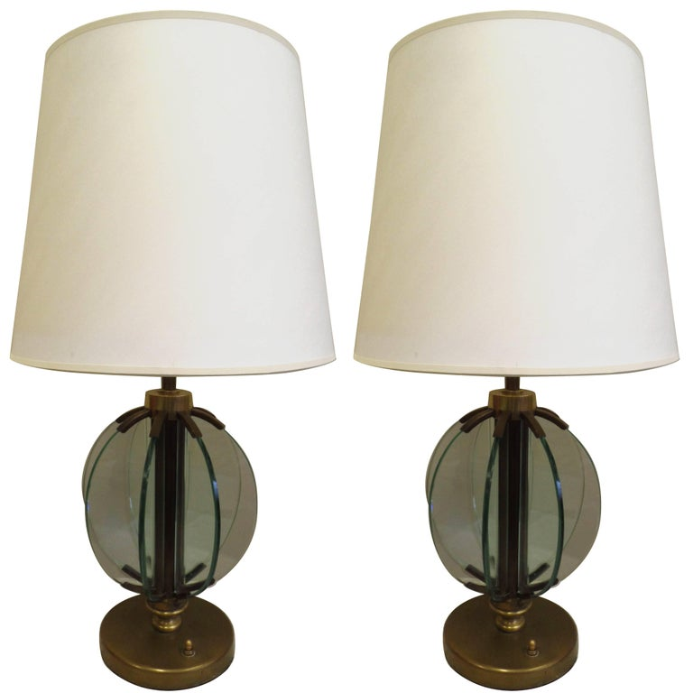 Pair of Italian Mid-Century Modern Glass 'Astrolabe' Table Lamps by Fontana Arte For Sale