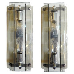 Pair of Italian Mid-Century Modern Glass Sconces by Veca, Milano