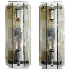Pair of Italian Mid-Century Modern Glass Sconces Inspired by Fontana Arte