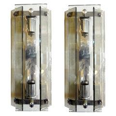 Pair of Italian Mid-Century Modern Glass Sconces Inspired by Fontana Arte