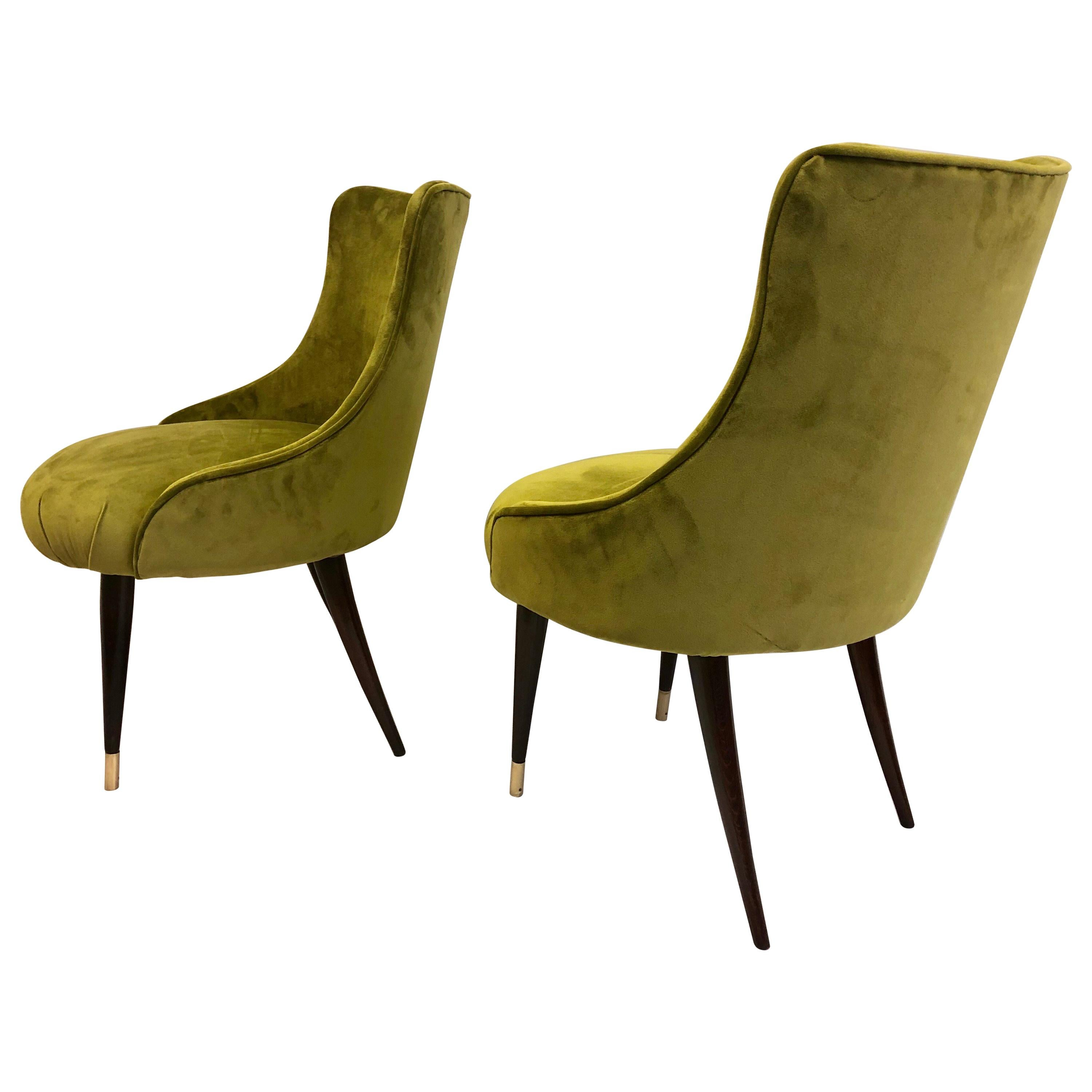 Pair of Italian Mid-Century Modern Lounge / Slipper Chairs by Guglielmo Ulrich