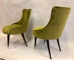 Pair of Italian Mid-Century Modern Lounge / Slipper Chairs by Guglielmo Ulrich