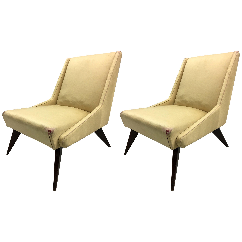 Pair of Italian Mid-Century Modern Lounge / Slipper Chairs by ISA, 1950