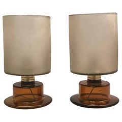 Pair of Italian Mid-Century Modern Murano Glass Table Lamps by Seguso