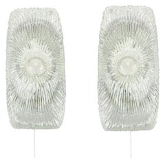 Pair of Italian Mid-Century Modern Murano Ice Glass Wall Lights, Sconces, 1960s