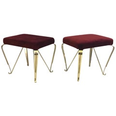 Pair of Italian Mid-Century Modern Neoclassical Solid Brass Benches by Jansen