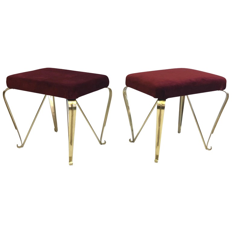 Pair of Italian Mid-Century Modern Neoclassical Solid Brass Benches by Jansen For Sale