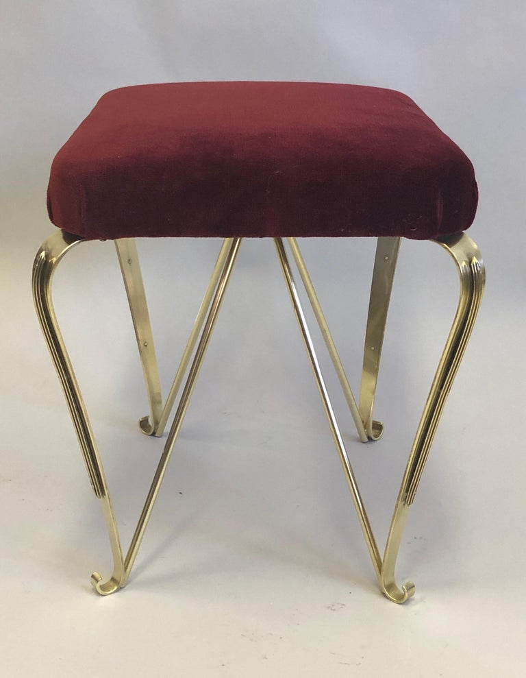 Pair of Italian Mid-Century Modern Neoclassical Solid Brass Benches by Jansen For Sale 4