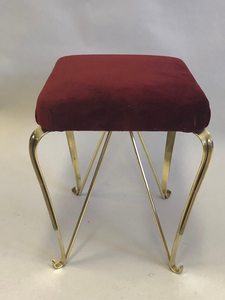 Pair of Italian Mid-Century Modern Neoclassical Solid Brass Benches by Jansen For Sale 5