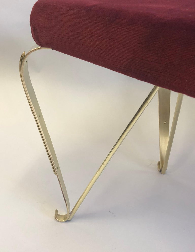 Pair of Italian Mid-Century Modern Neoclassical Solid Brass Benches by Jansen For Sale 10