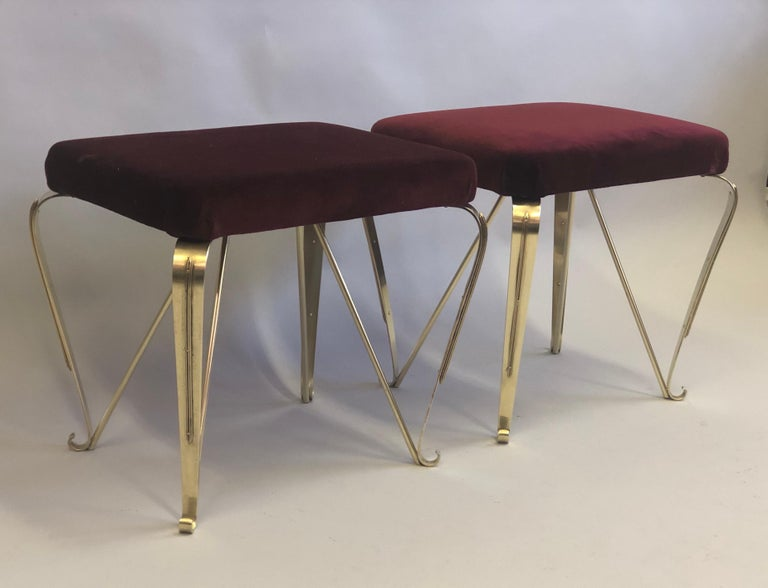 Faceted Pair of Italian Mid-Century Modern Neoclassical Solid Brass Benches by Jansen For Sale