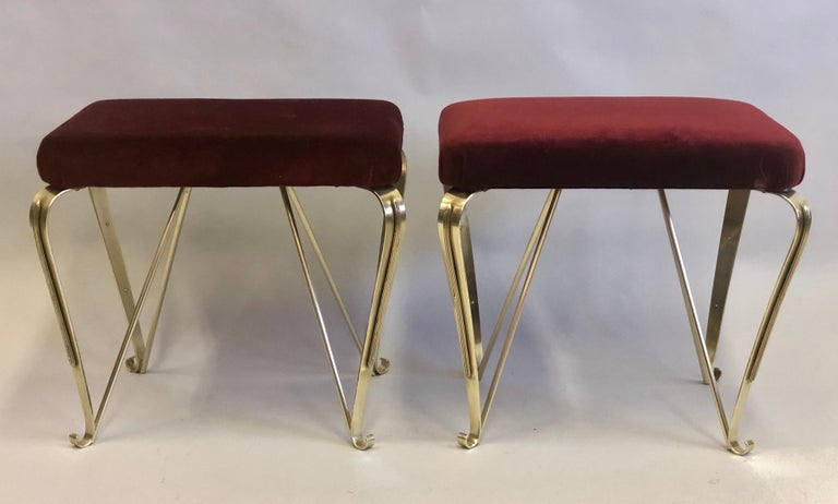 Pair of Italian Mid-Century Modern Neoclassical Solid Brass Benches by Jansen In Good Condition For Sale In New York, NY