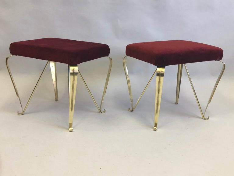 20th Century Pair of Italian Mid-Century Modern Neoclassical Solid Brass Benches by Jansen For Sale