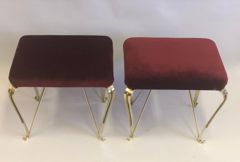 Upholstery Pair of Italian Mid-Century Modern Neoclassical Solid Brass Benches by Jansen For Sale