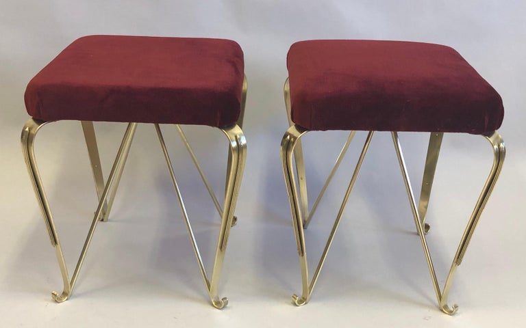 Pair of Italian Mid-Century Modern Neoclassical Solid Brass Benches by Jansen For Sale 1
