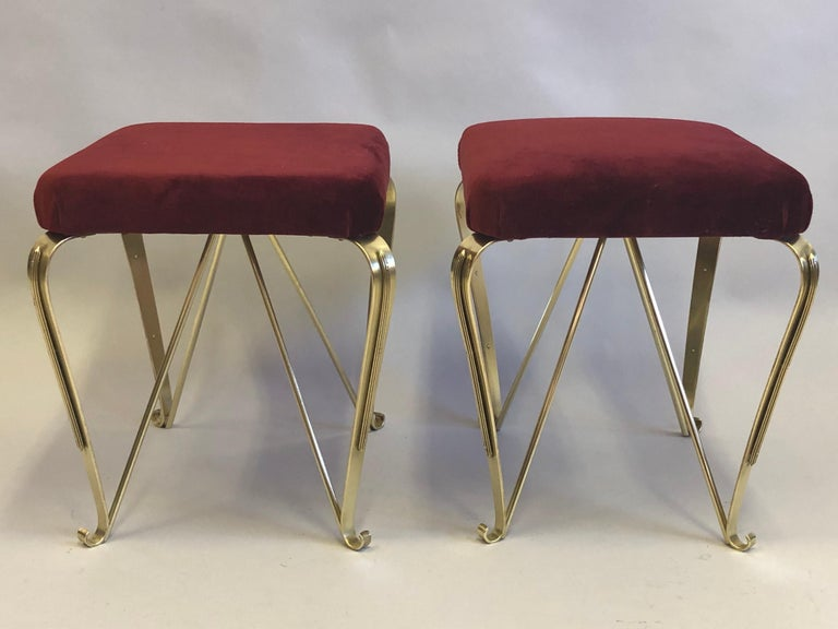 Pair of Italian Mid-Century Modern Neoclassical Solid Brass Benches by Jansen For Sale 2