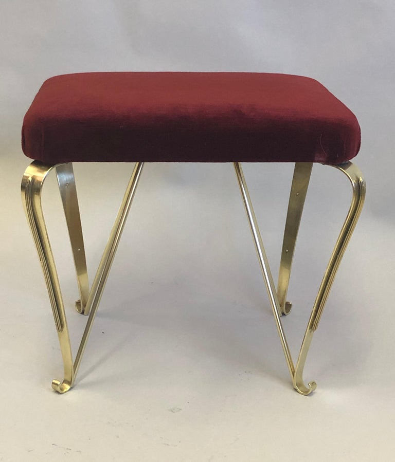 Pair of Italian Mid-Century Modern Neoclassical Solid Brass Benches by Jansen For Sale 3