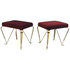 Pair of Italian Mid-Century Modern Neoclassical Solid Brass Benches, Pier Colli