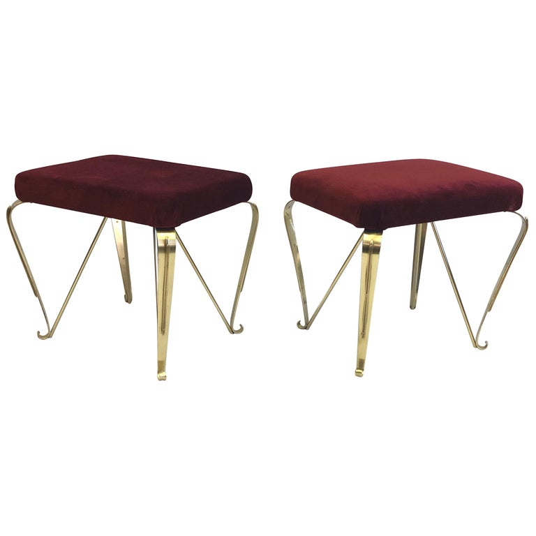 Pair of Italian Mid-Century Modern Neoclassical Solid Brass Benches, Pier Colli For Sale