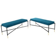 Pair of Italian Mid-Century Modern New Blue Upholstery X-Stretchers Benches