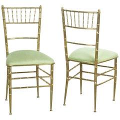 Pair of Italian Mid-Century Modern New Velvet and Brass Chiavari Chairs
