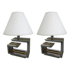 Pair of Italian Mid-Century Modern Nickel and Brass Table Lamps by Romeo Rega