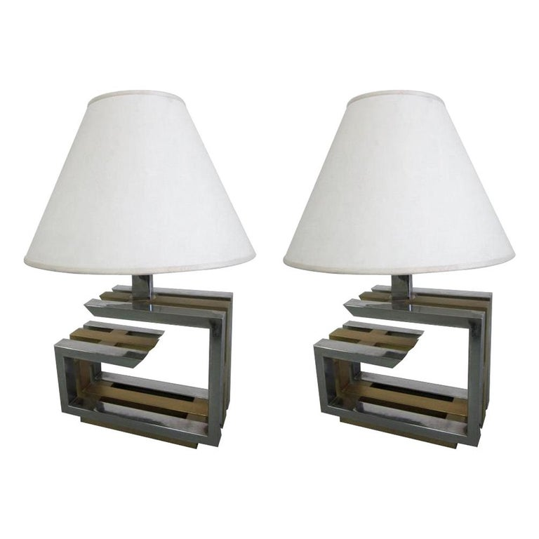 Pair of Italian Mid-Century Modern Nickel and Brass Table Lamps by Romeo Rega For Sale