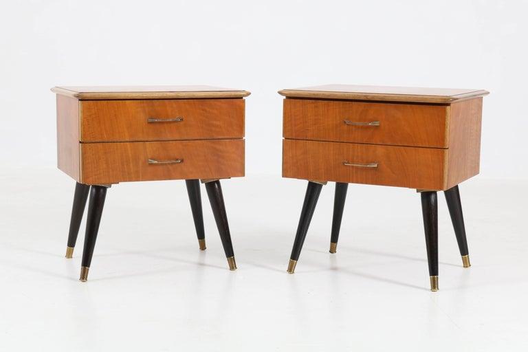 mid century modern bedside table. Elegant Pair Of Mid-Century Modern Nightstands Or Bedside Tables, 1950s. Sleek Italian Mid Century Table