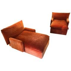 Pair of Italian Mid-Century Modern Orange Velvet Chaise Lounges