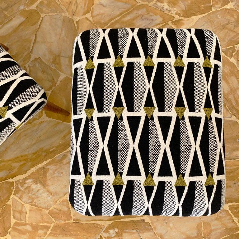 Fabric Pair of Italian Mid-Century Modern Ottoman For Sale