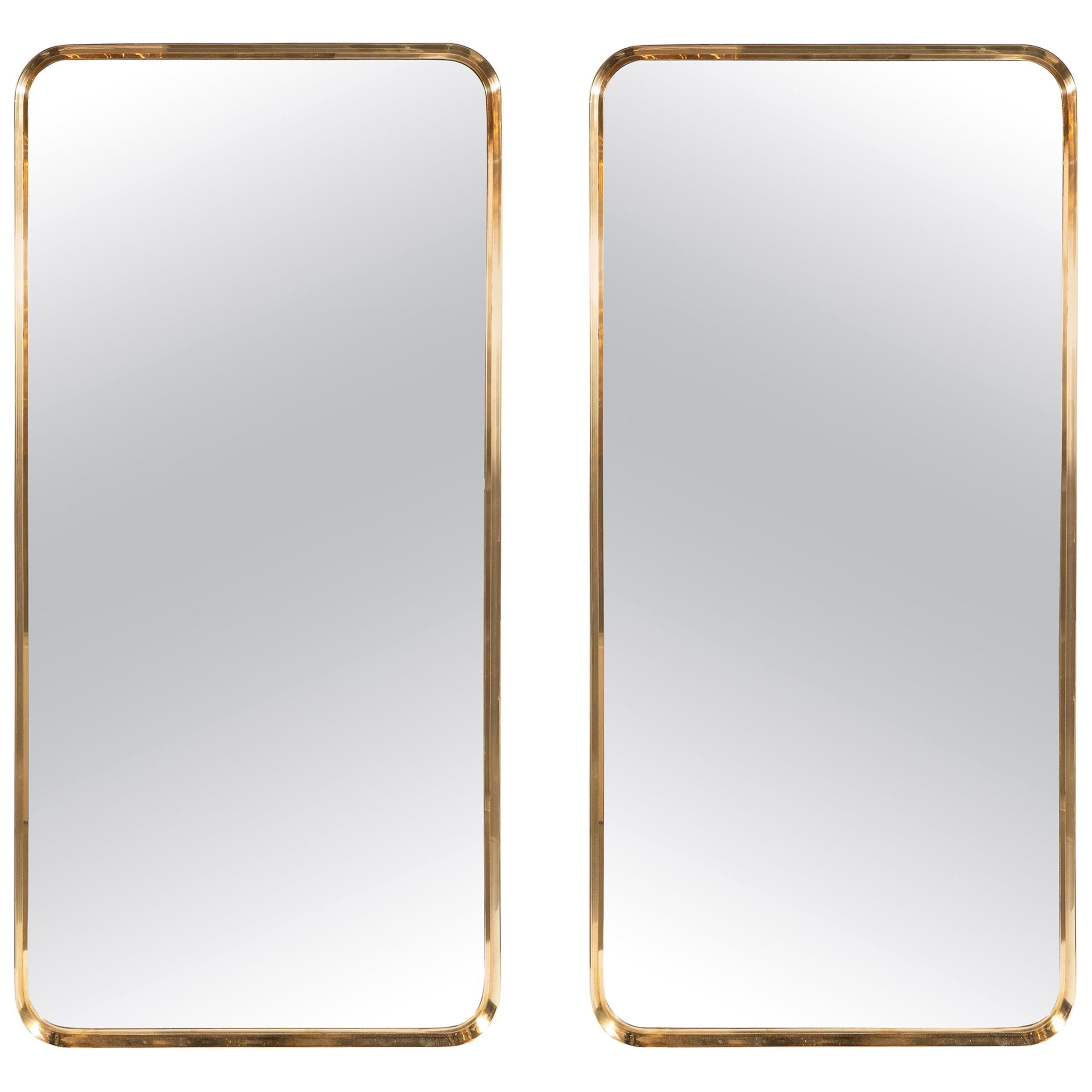 Pair of Italian Mid-Century Modern Rectangular Curvilinear Brass Wrapped Mirrors