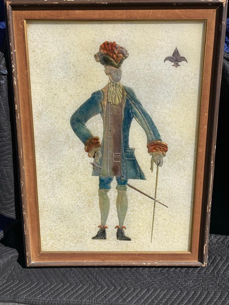 A pair of unusual and very intriguing large scale reverse glass paintings of a noble man and woman. She with her long neck and limbs, dressed in an elegant gown metallic copper gown. He in a handsome waistcoat and chapeau holding a cane, with a