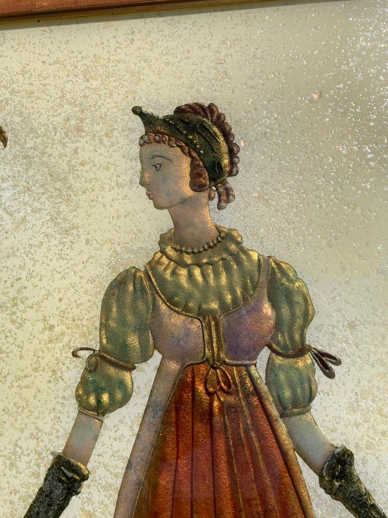 20th Century Pair of Italian Mid-Century Modern Reverse Glass Paintings of Royalty For Sale