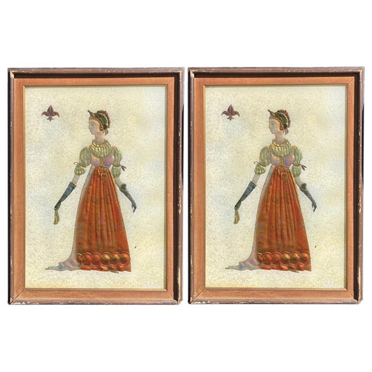 Pair of Italian Mid-Century Modern Reverse Glass Paintings of Royalty