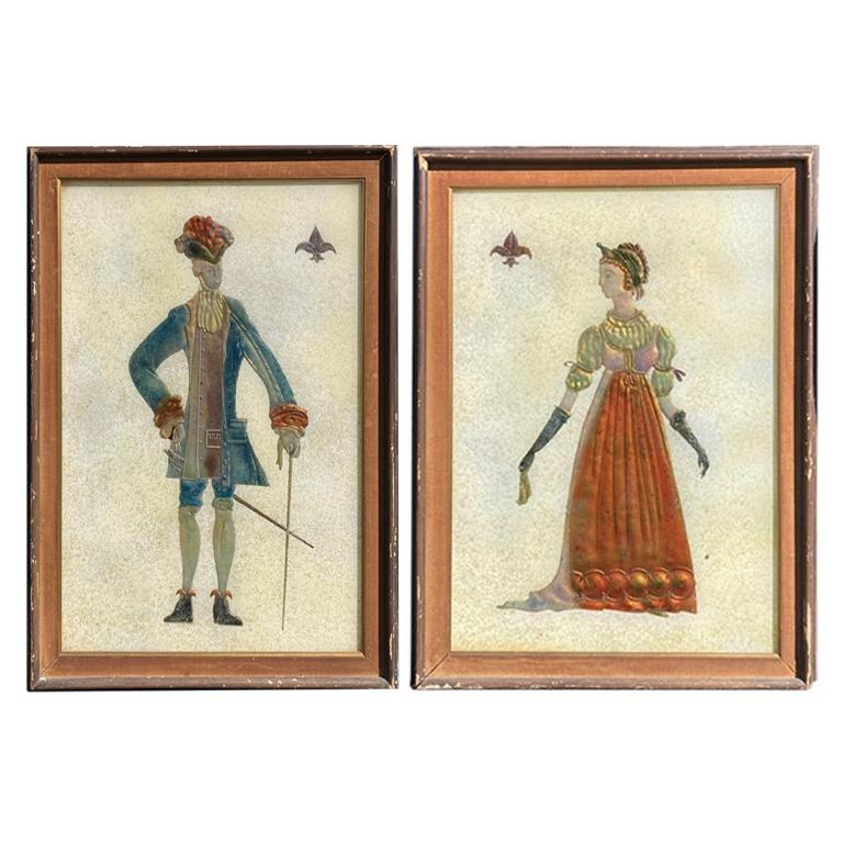 Pair of Italian Mid-Century Modern Reverse Glass Paintings of Royalty For Sale