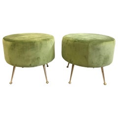 Pair of Mid-Century Modern Round Stools or Benches Attributed to Marco Zanuso