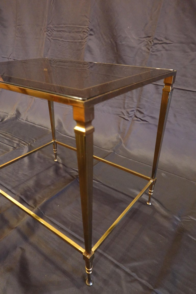 Pair of Italian Mid-Century Modern Side Tables with Glass and Mirrored Tops For Sale 1