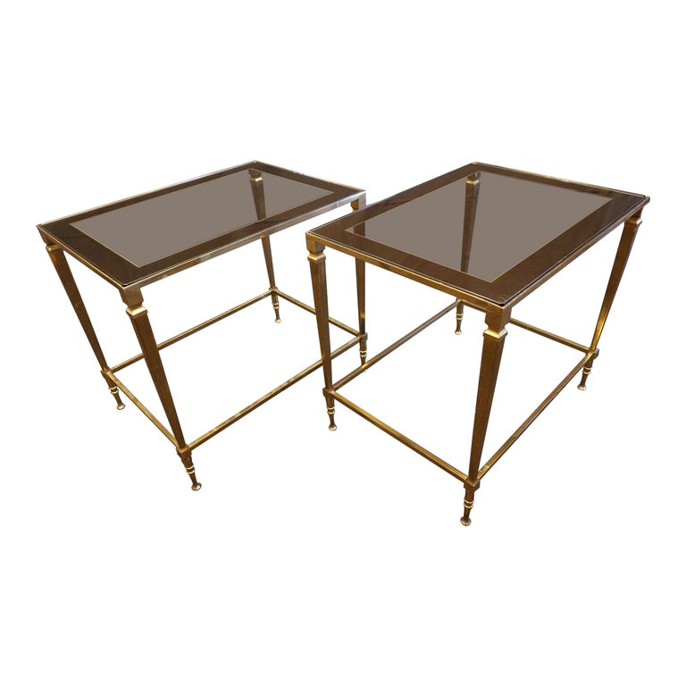Pair of Italian Mid-Century Modern Side Tables with Glass and Mirrored Tops For Sale