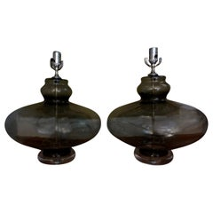 Pair of Italian Mid-Century Modern Smoked Glass Lamps